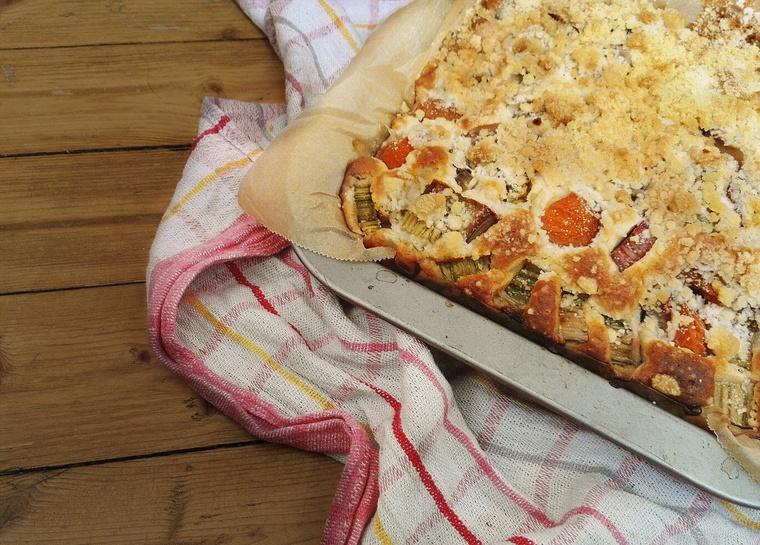 Streuselkuchen mit Rhabarber und Aprikosen im Blech