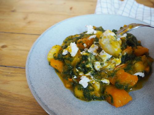 Gnocchi mit Spinat, Kürbis und Ziegenkäse