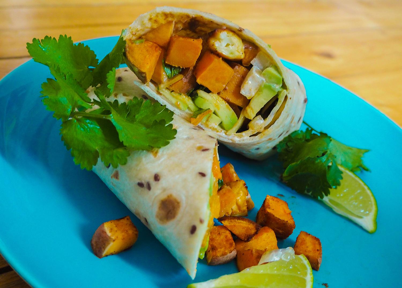 Wrap mit Süßkartoffel und Feta