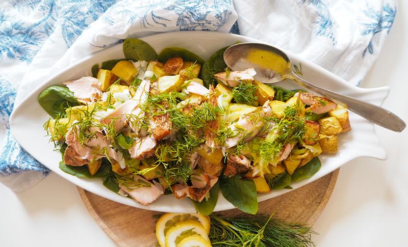 kartoffelsalat mit lachs und dill