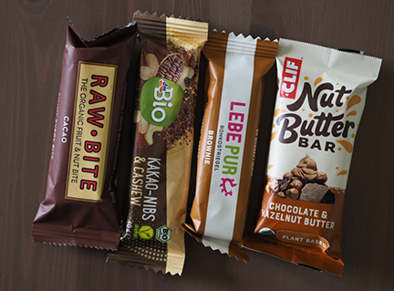 raw bite cacao, dm bio kakao, lebepur brownie, clif nut butter