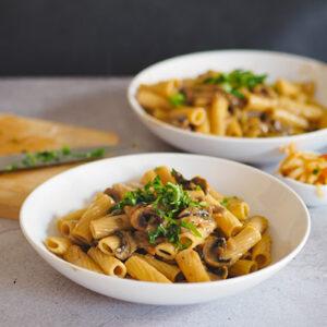 kimchi alfredo pasta mit champignons